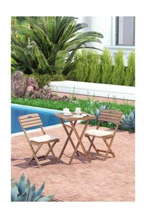 Meya Dekor Minder Hediyeli Balkon Bahçe Mutfak 3'lü Bistro Set Katlanır 2 Sandalye 1 Masa