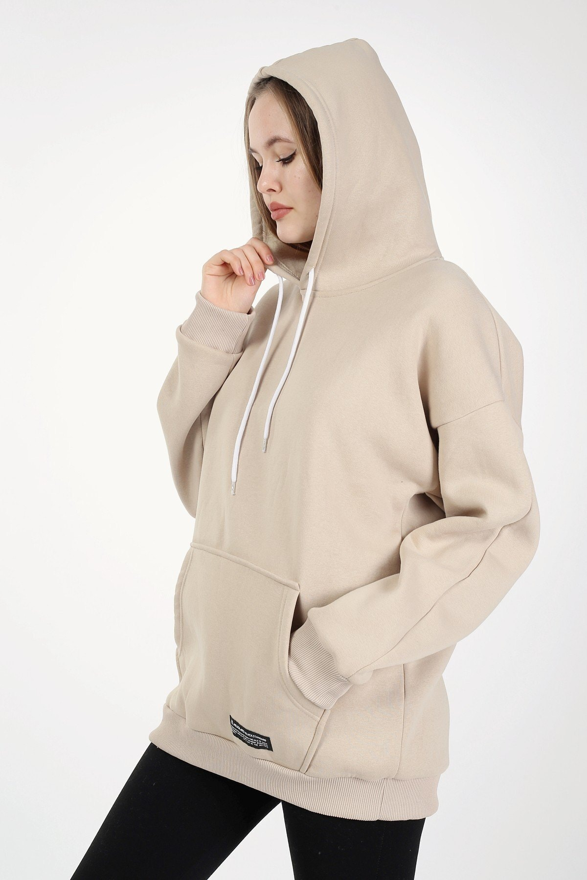Millionaire Camel Kapşonlu Oversize Kadın Sweatshirt 1