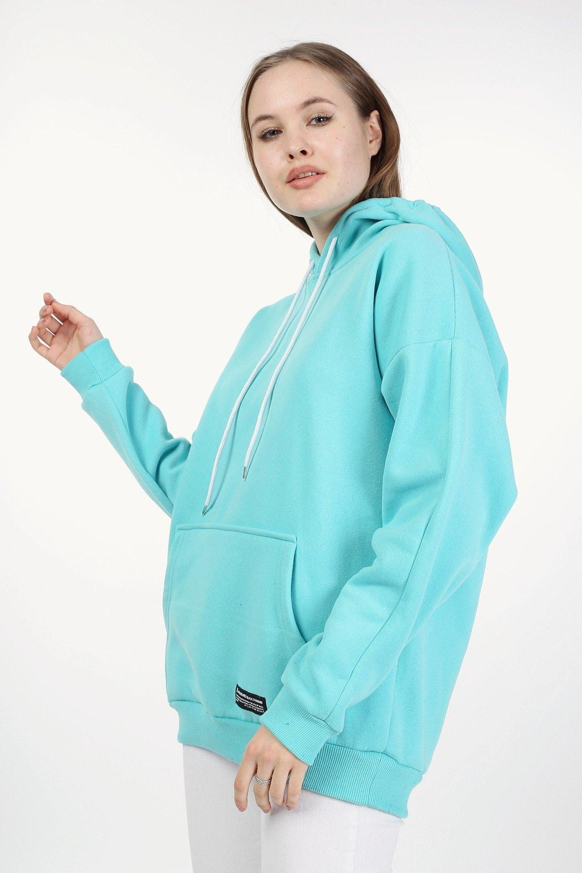 Millionaire Kadın Mint Kapşonlu Oversize Sweatshirt 1