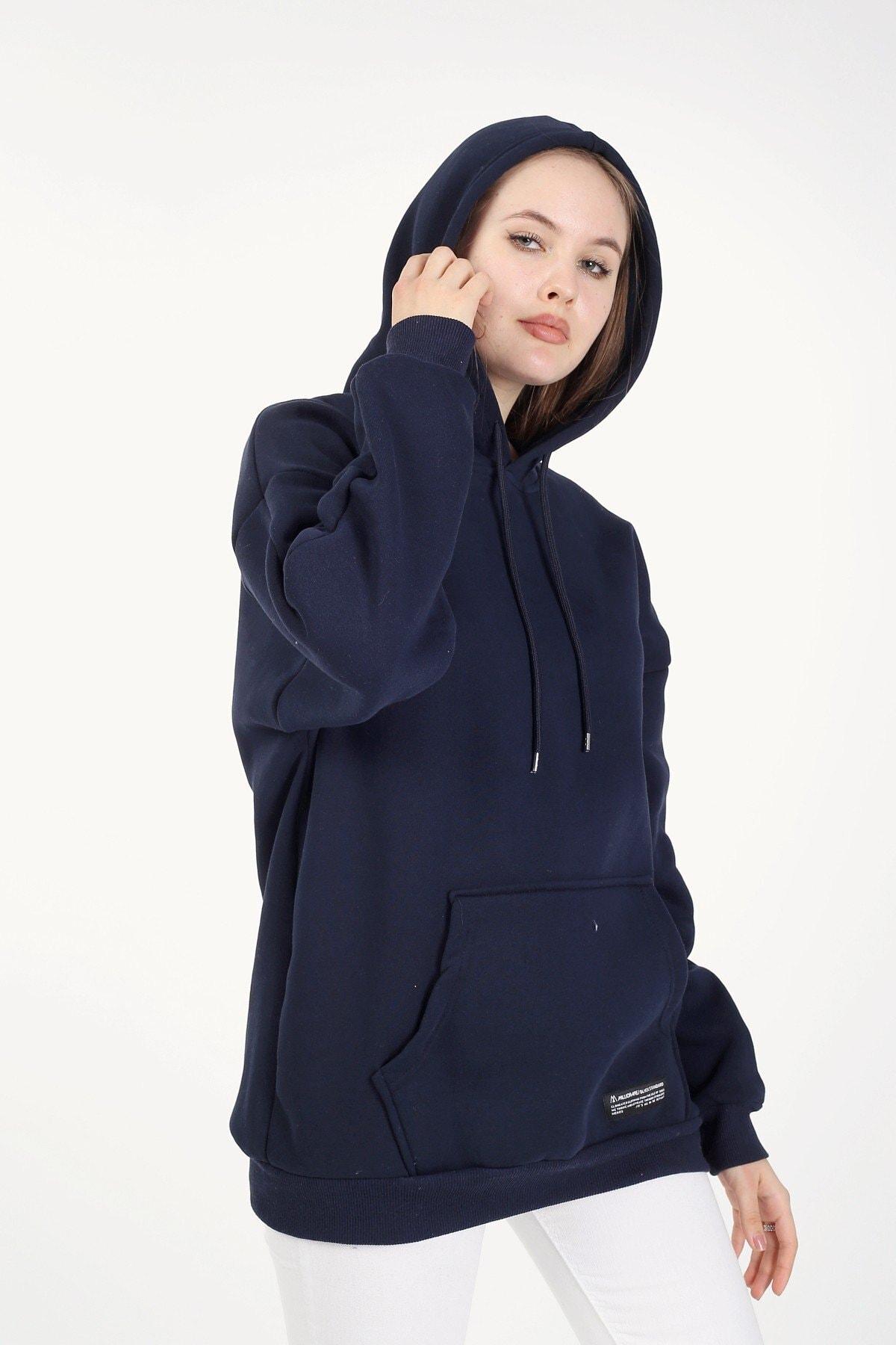 Millionaire Kadın Lacivert Kapşonlu Oversize Sweatshirt 1
