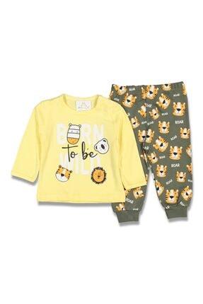 Dandini Erkek Bebek Sarı Kaplanlı Pijama Takım