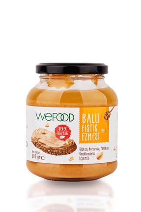 Wefood Şekersiz Ham Ballı Fıstık Ezmesi 300 gr (Fıstık Parçacıklı)
