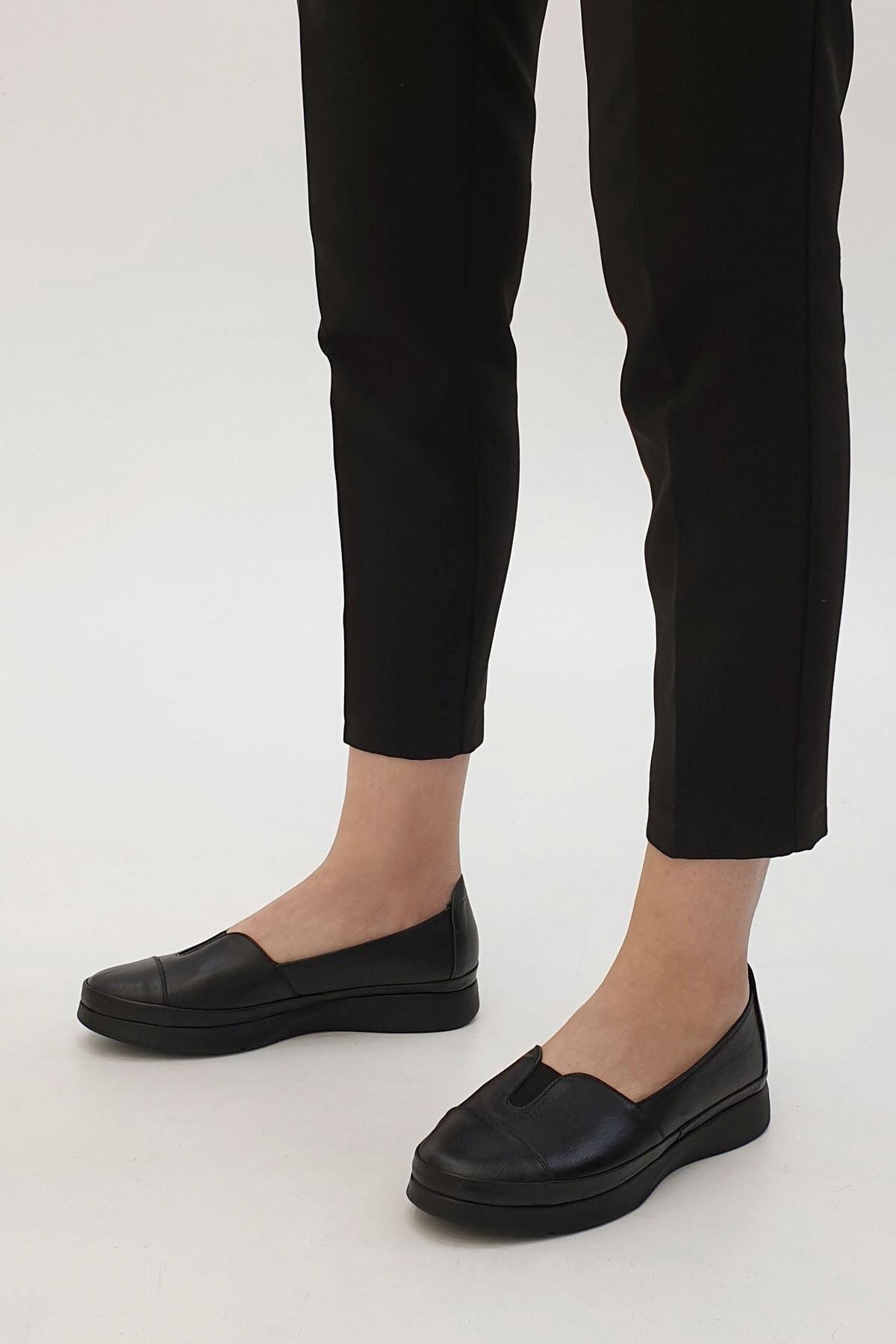 Marjin Meyza Kadın Hakiki Deri Comfort Ayakkabısiyah