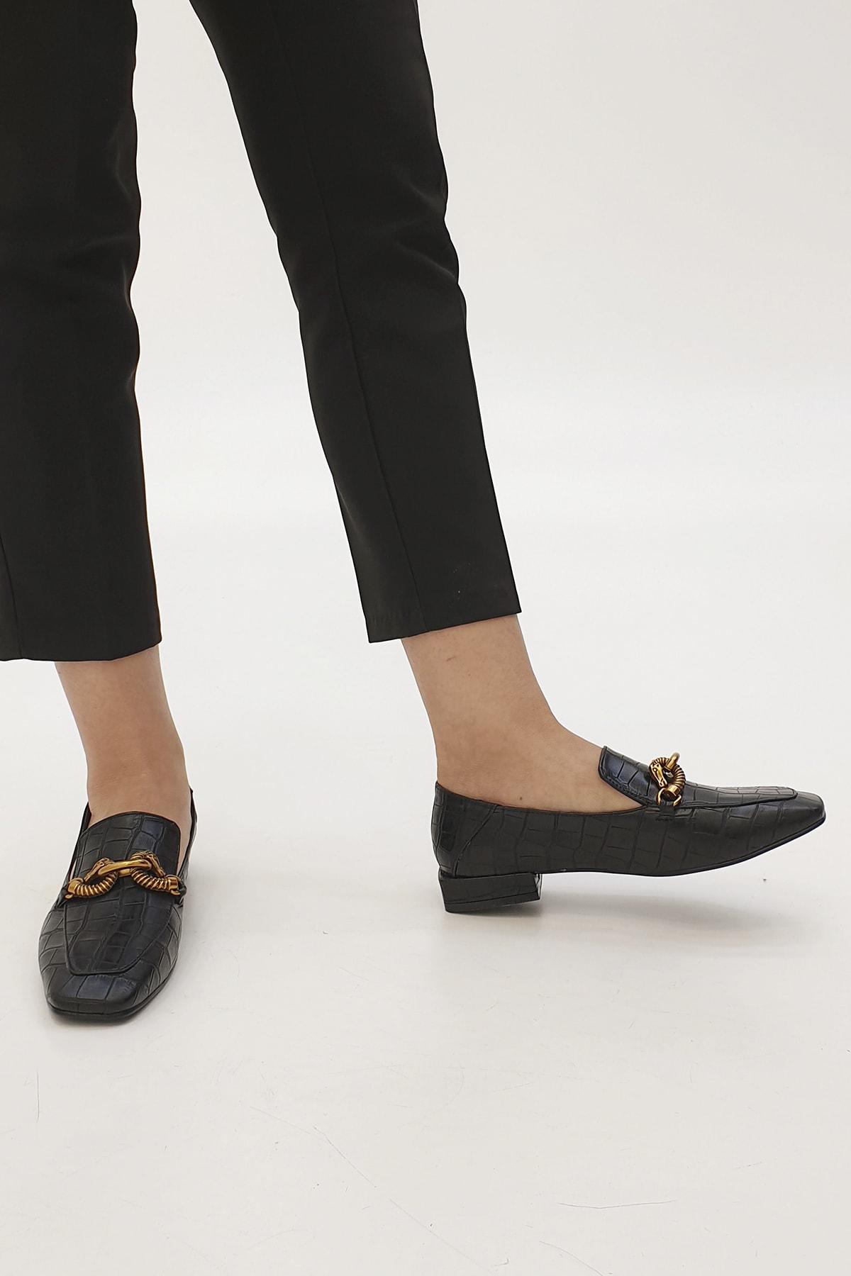 Marjin Alva Kadın Günlük Loafer Ayakkabı Siyah Croco