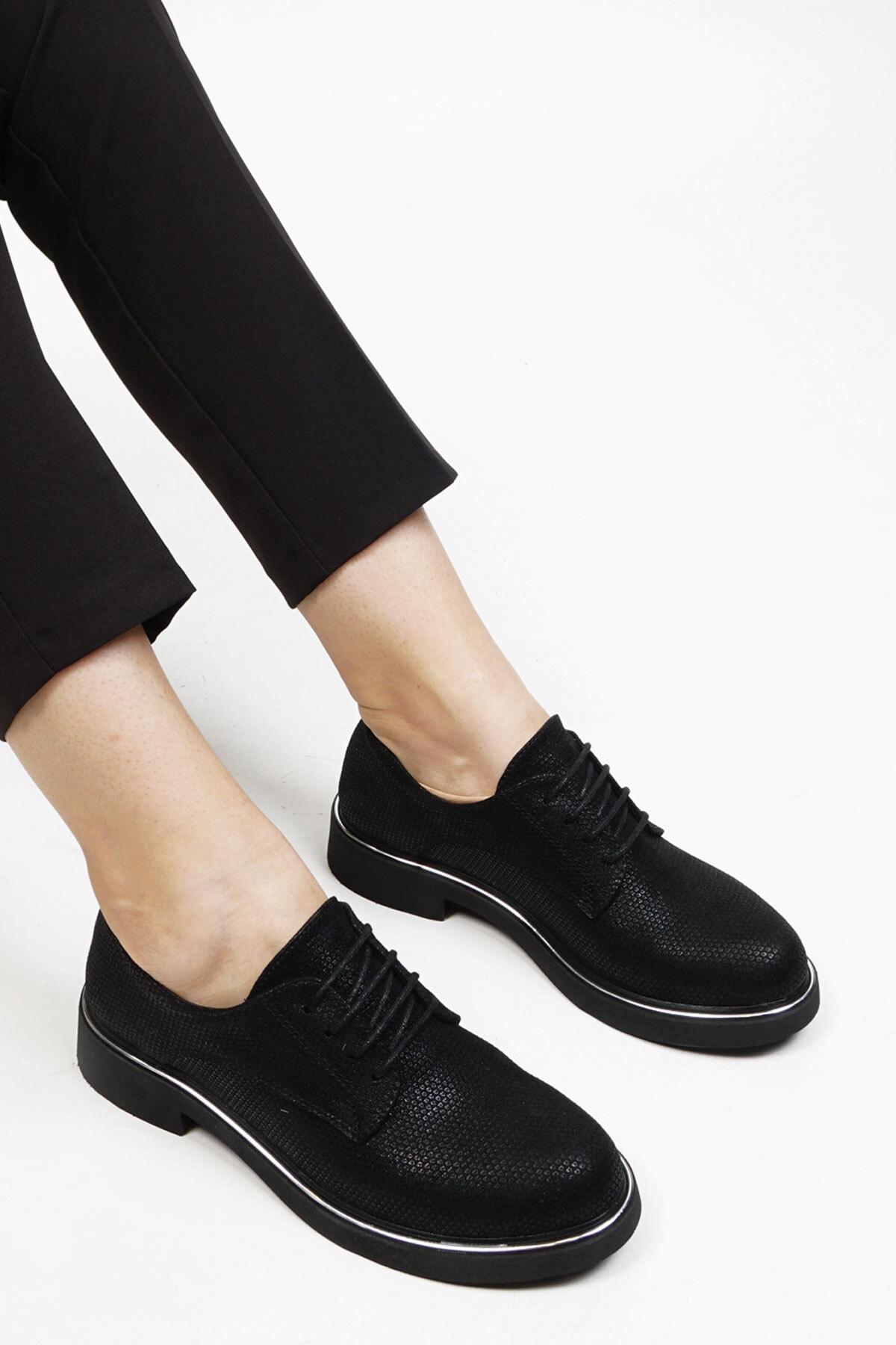 Marjin Kadın Siyah Petek Oxford Ayakkabı Terva