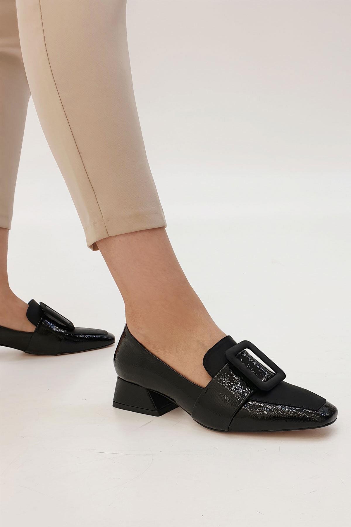 Marjin Jiyona Kadın Klasik Topuklu Ayakkabısiyah Rugan 1