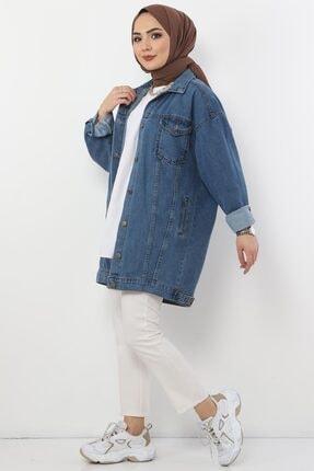 Tesettür Dünyası Kadın Açık Mavi Cepli Kot Ceket Tsd2519