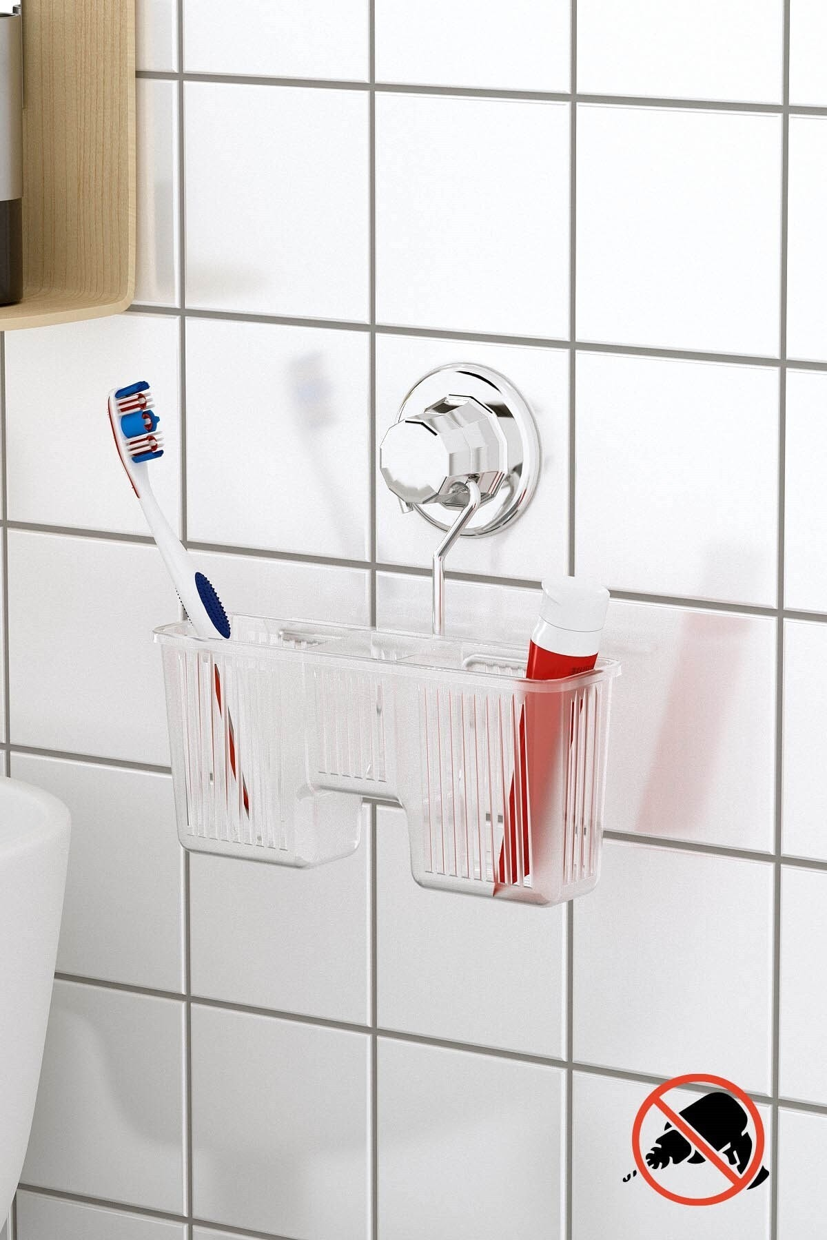 Teknotel Delme Vida Matkap Yok! Vakumlu Plastik Çok Amaçlı Banyo Fırçalık Rafı Krom Dm058 1