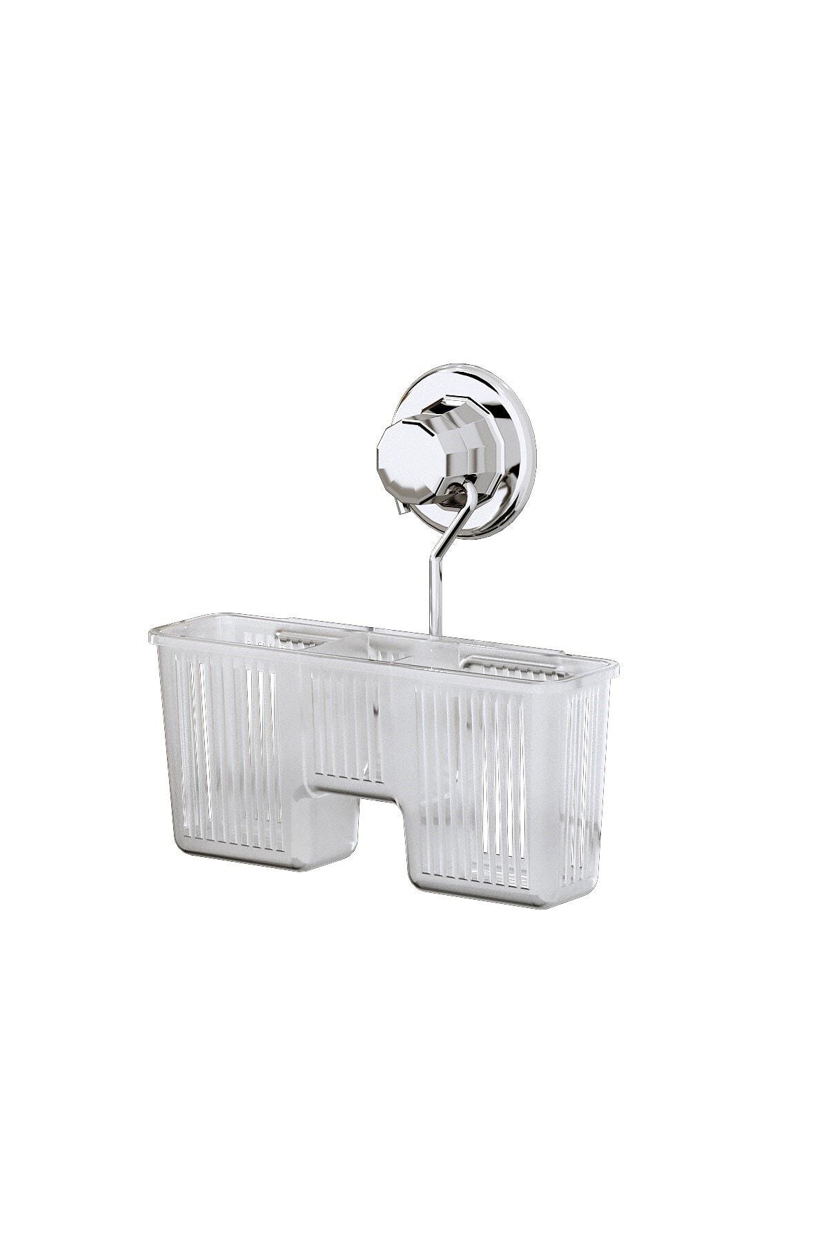 Teknotel Delme Vida Matkap Yok! Vakumlu Plastik Çok Amaçlı Banyo Fırçalık Rafı Krom Dm058 2