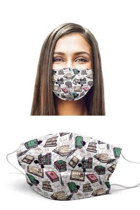 Puumask Kitaplar Desenli Yıkanabilir Yeni Nesil Kumaş Telli Bez Maske