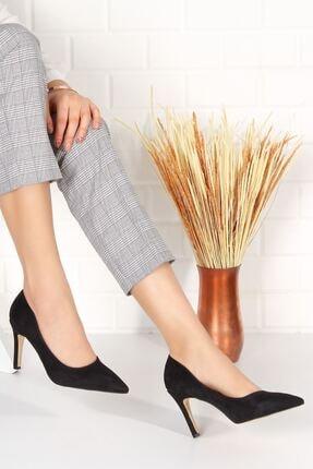 derithy Kadın Siyah Süet Topuklu Ayakkabı