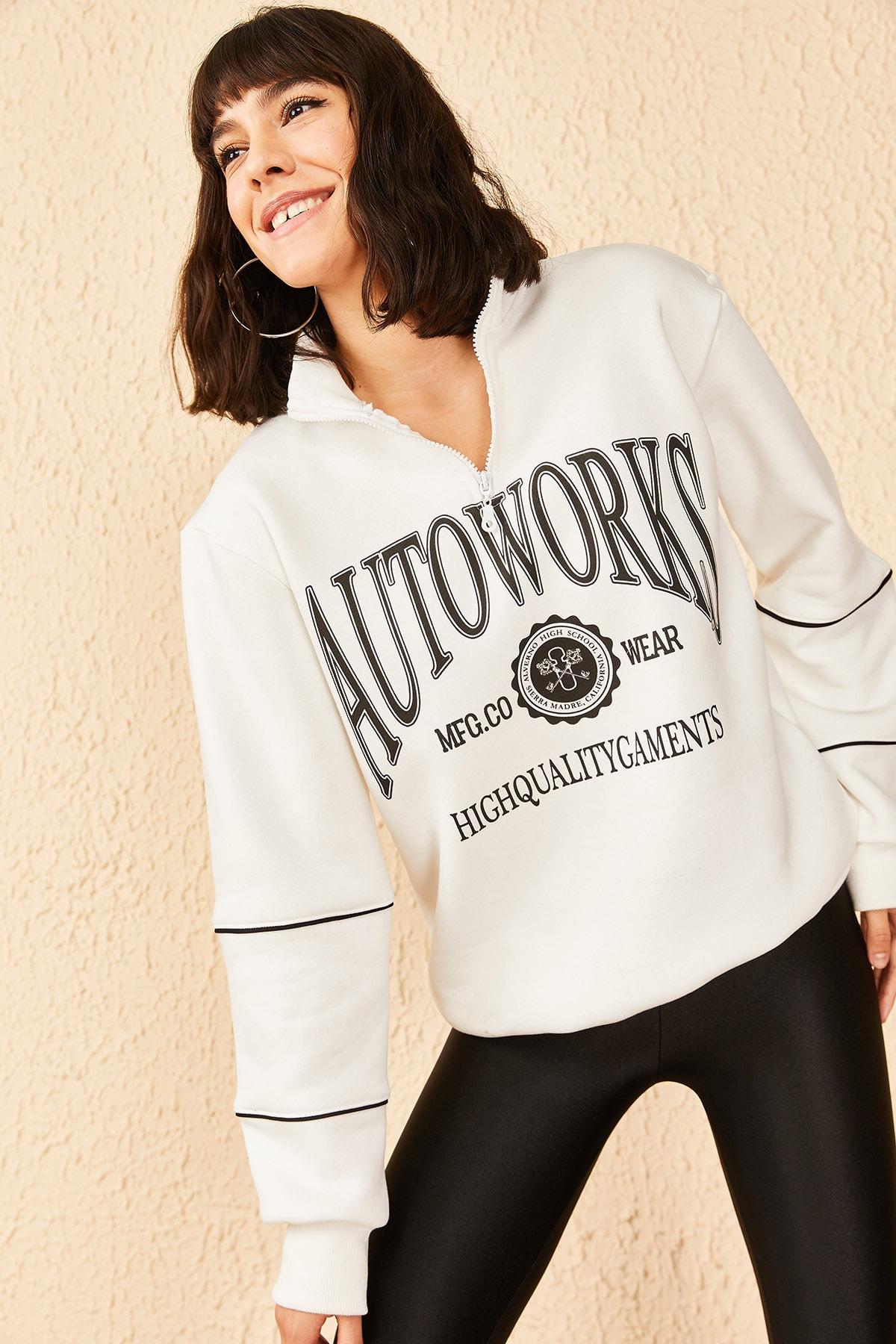 Bianco Lucci Kadın Fermuarlı Autowooks Baskılı Sweatshirt 1