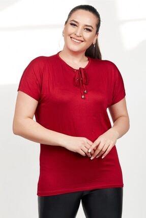 Womenice Kadın Bordo Önü Bağcıklı Kısa Kol Büyük Beden Bluz
