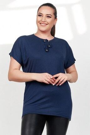 Womenice Kadın Lacivert Önü Bağcıklı Kısa Kol Büyük Beden Bluz