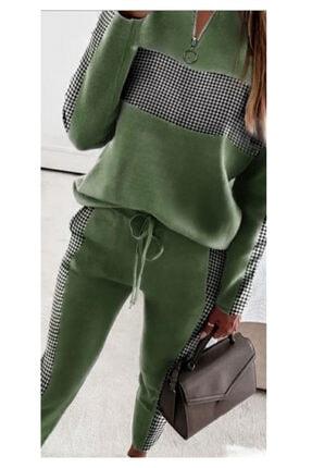 ELBİSENN Yeni Model Kadın Yakası Fermuarlı Dama Desen Ikili Takım (yeşil)