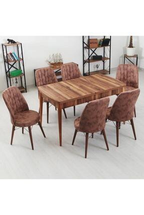 İndirim Spott Inci Serisi 6 Kişilik Masa Takımı -kelebek Açılır Yemek Masası + 6 Adet Sandalye
