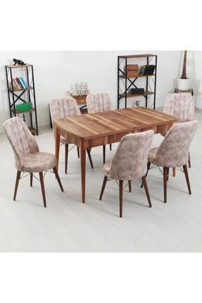 İndirim Spott Inci Serisi 6 Kişilik Masa Takımı Kelebek Açılır Yemek Masası + 6 Adet Sandalye