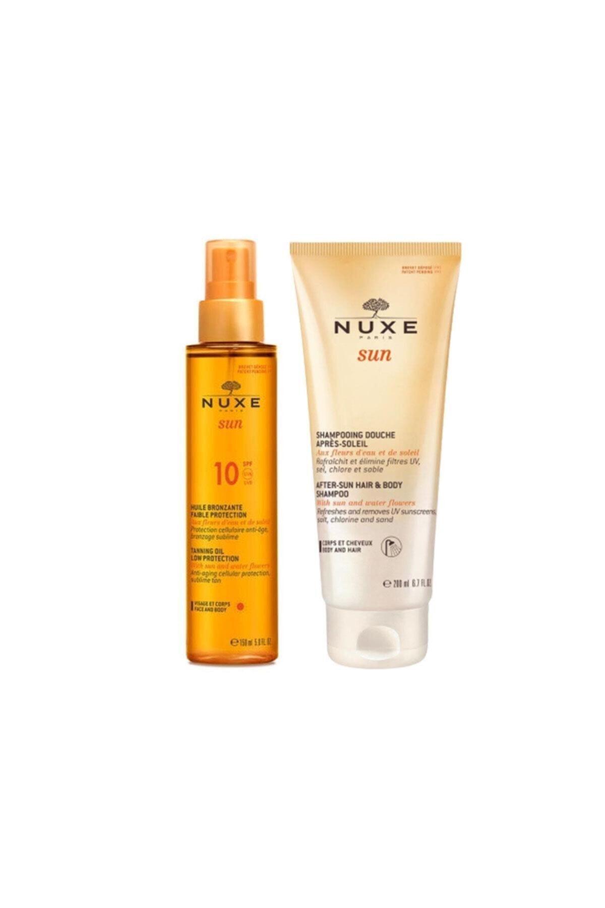 Nuxe Bronzlaştırıcı Yüz Ve Vücut Yağı Spf10 150 ml + Güneş Sonrası Nemlendirici Saç Ve Vücut Şampuan 1