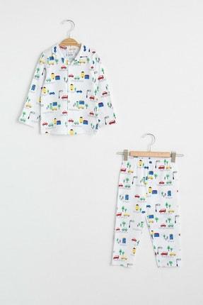 LC Waikiki Erkek Bebek Beyaz Baskılı Lu7 Pijama Takımı