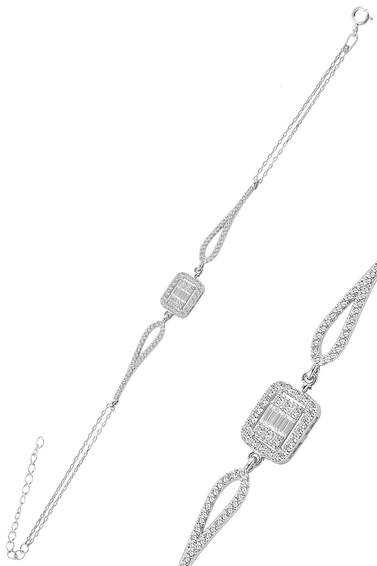 Söğütlü Silver Gümüş Rodyumlu Zirkon Baget Taşlı Bileklik. 1