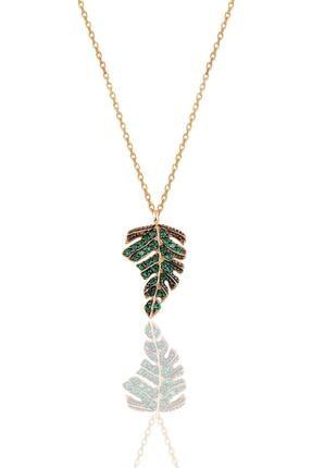 Söğütlü Silver Gümüş Rose Yeşil Taşlı Yaprak Kolye