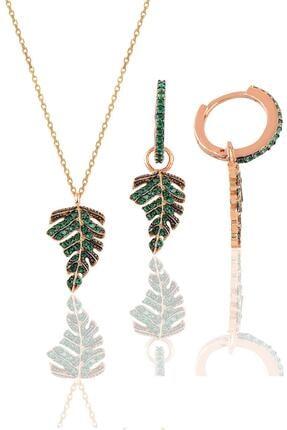 Söğütlü Silver Gümüş Rose Yeşil Taşlı Yaprak Kolye Ve Küpe Seti