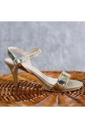 PUNTO Kadın Altın Renk Arkası Açık Topuklu Ayakkabı