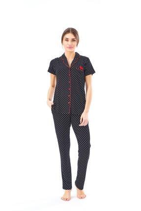 PJS 22124 Kadın Puanlı Düğmeli Pijama Takım