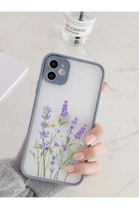 mooodcase Iphone 11 Uyumlu Füme Kamera Lens Korumalı Lavender Desenli Lüx Telefon Kılıfı