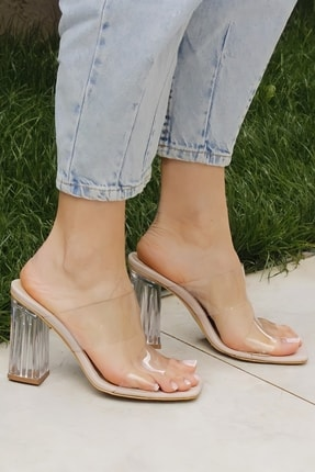 Ayakkabı Ateşi Nude Cilt Şeffaf Topuklu Kadın Terlik