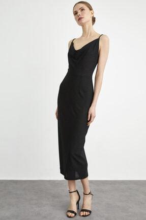 adL Kadın Simli Siyah Askılı Elbise