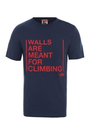 THE NORTH FACE Erkek Mavi Walls Are For Climbing T-shirt