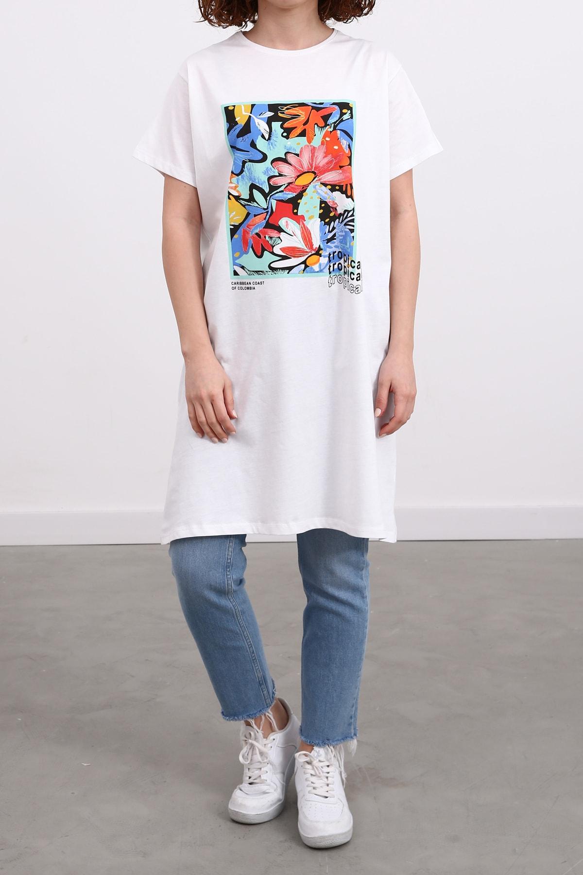 Ekrumoda Beyaz-Su Yeşili Kısa Kollu Baskılı T-shirt 2