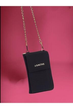 Armine Kadın Siyah Telefon Bölmeli Cüzdan Çanta