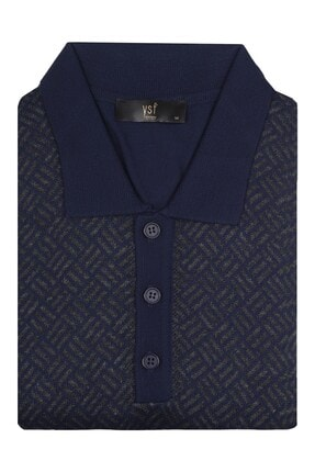 YSF Giyim Erkek Mavi Polo Yaka Desenli Klasik Triko Kazak 7134