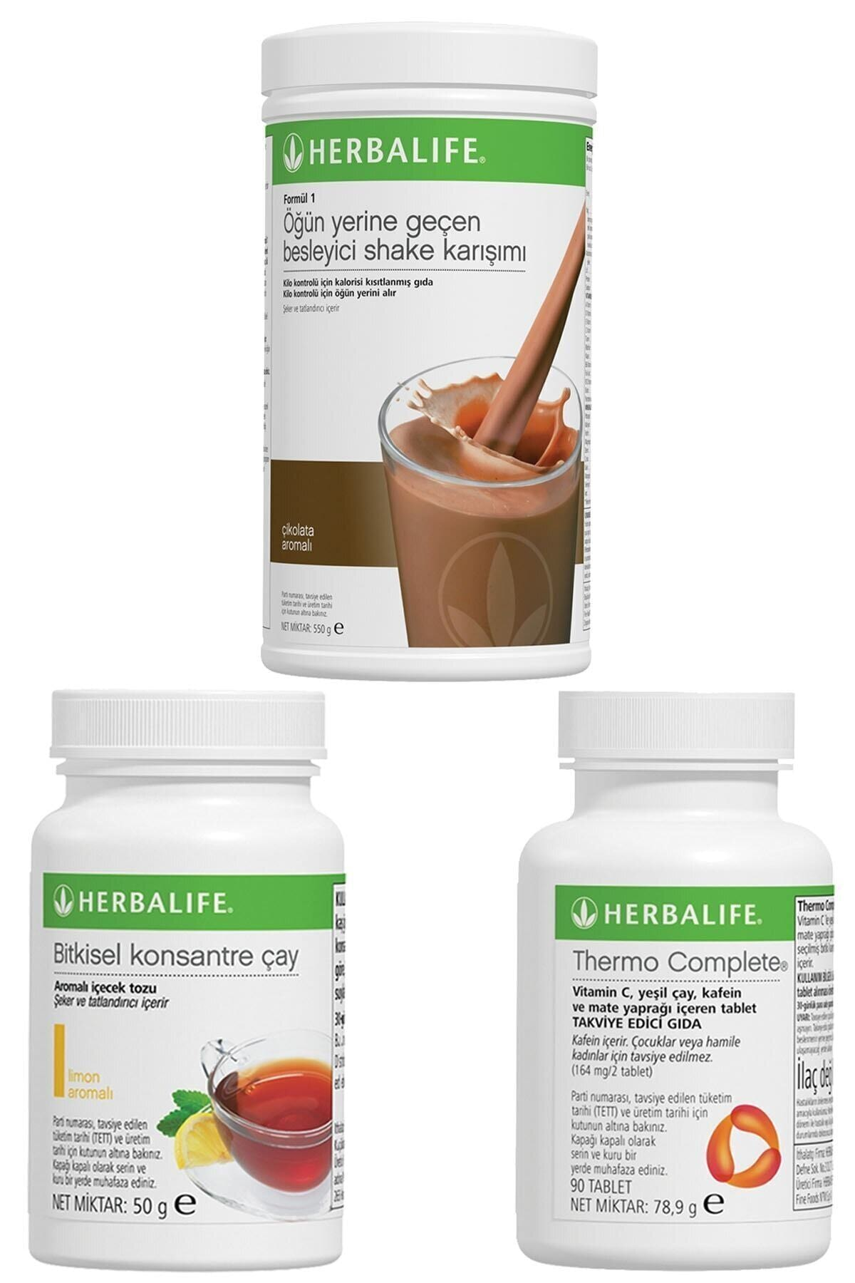 Herbalife Shake Çikolatalı, Thermo Complete, Limonlu Çay 50gr Birer Adet 1