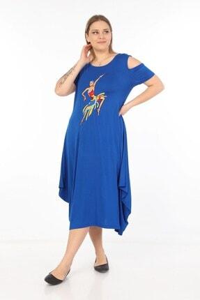 Womenice Kadın Mavi Önü Baskılı Büyük Beden Elbise