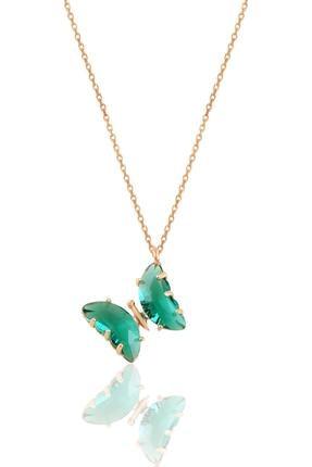 Söğütlü Silver Gümüş Rose Yeşil Zirkon Taşlı Tasarım Kelebek Kolye