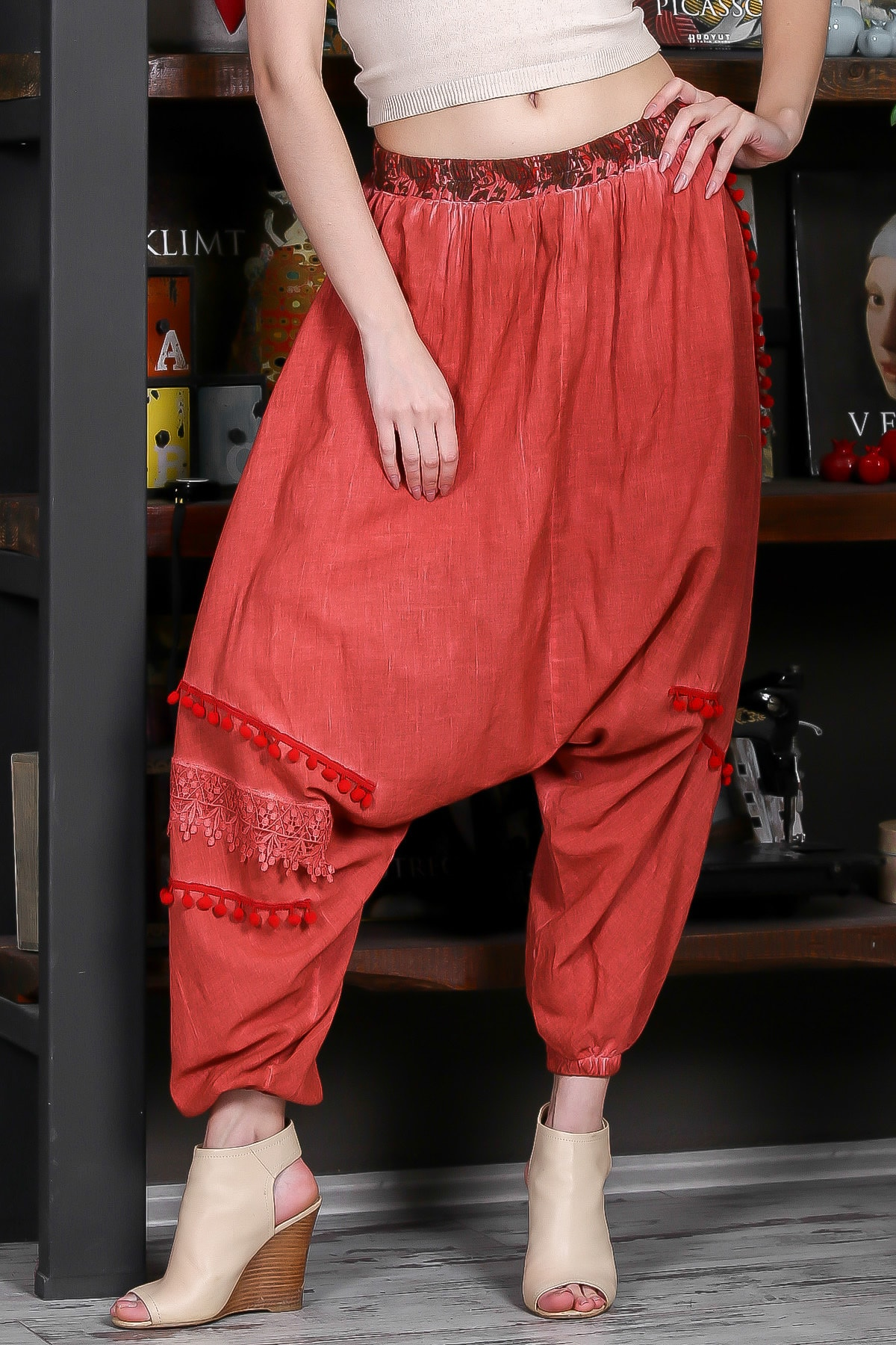 Chiccy Kadın Kiremit Beli Lastikli Ponpon Detaylı Dokuma Şalvar Pantolon M10060000PN98883