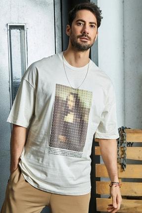 Sateen Men Erkek Bej Baskılı T-Shirt