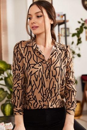 armonika Kadın Vizon Çizgi Desen Uzun Kol Gömlek ARM-20Y001002