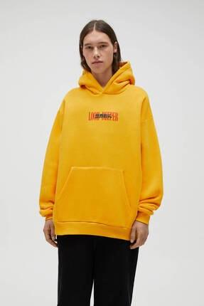 Pull & Bear Hardal Sarısı Oversize Kapüşonlu Sweatshirt