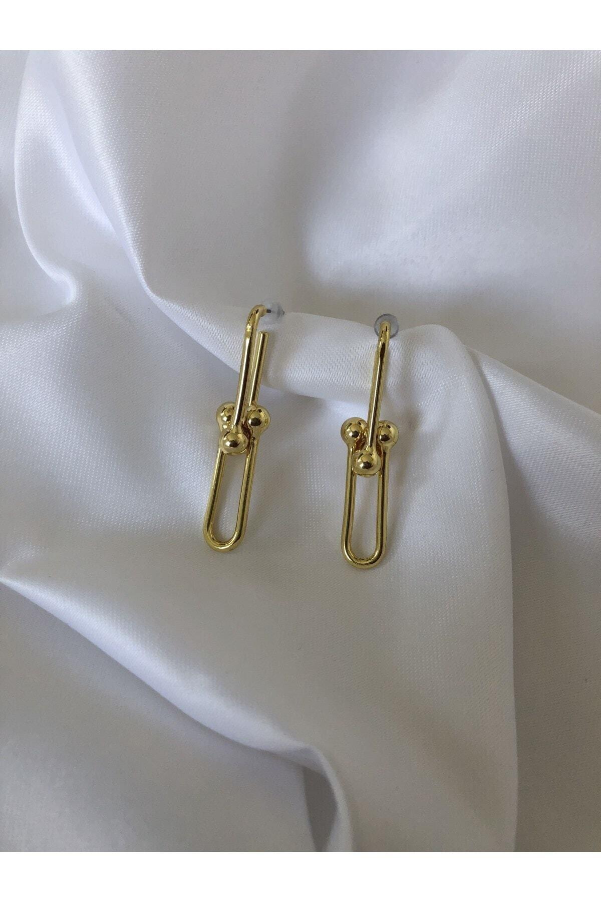 The Y Jewelry Kadın Gold Tiffany Küpe 1