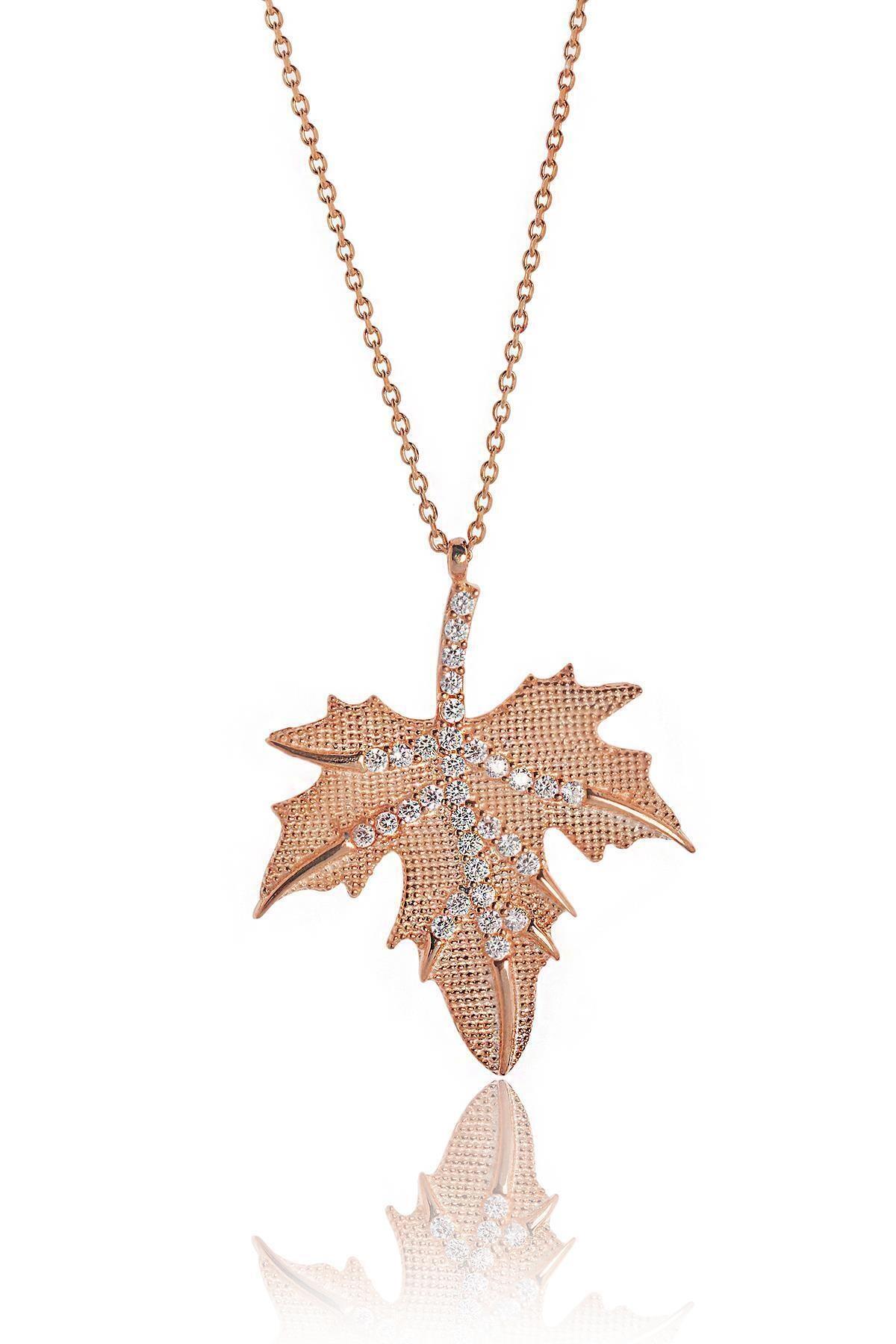 BY BARUN SİLVER Kadın Pembe Çınar Ağacı Yaprağı Gümüş Kolye 2