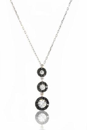 BY BARUN SİLVER Kadın Gümüş Rengi  925 Ayar Gümüş  Siyah Safirli Tria Kolye