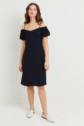 adL Kadın Lacivert Askılı Omzu Açık Elbise