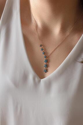 BY BARUN SİLVER Kadın Mavi Taşlı Sıralı Yıldız Gümüş Kolye