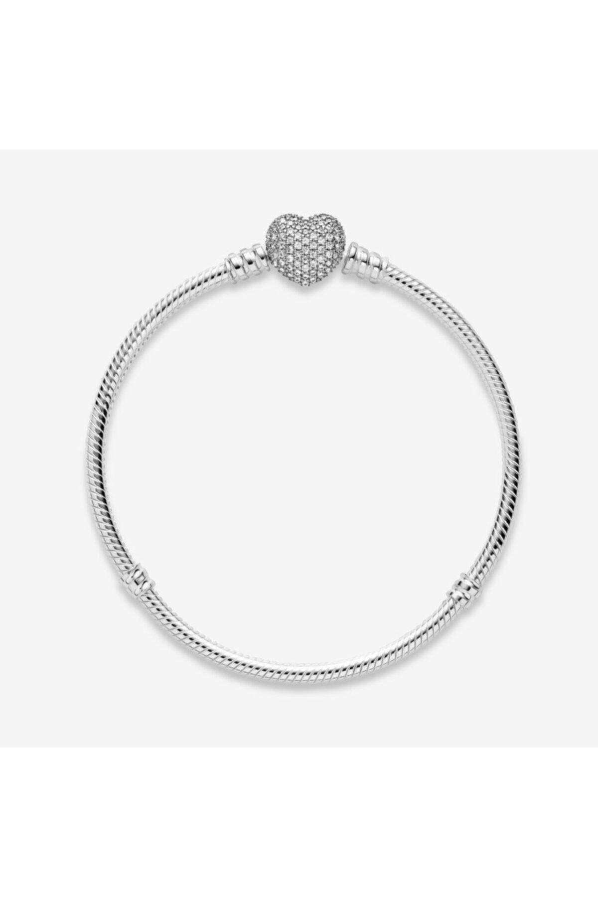 My Story Pandora Charm Uyumlu Pave Taşlı Kalp Gümüş Bileklik 2