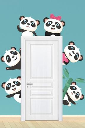 Tilki Dünyası Sevimli Pandalar Kapı Kenarı Duvar Sticker