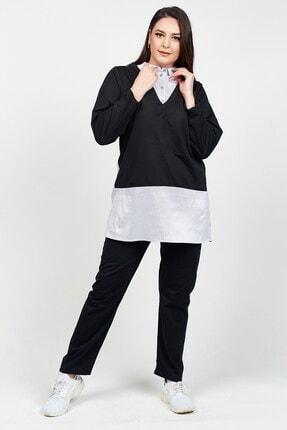 Womenice Kadın Siyah Gömlek Yaka Büyük Beden Eşofman Takım